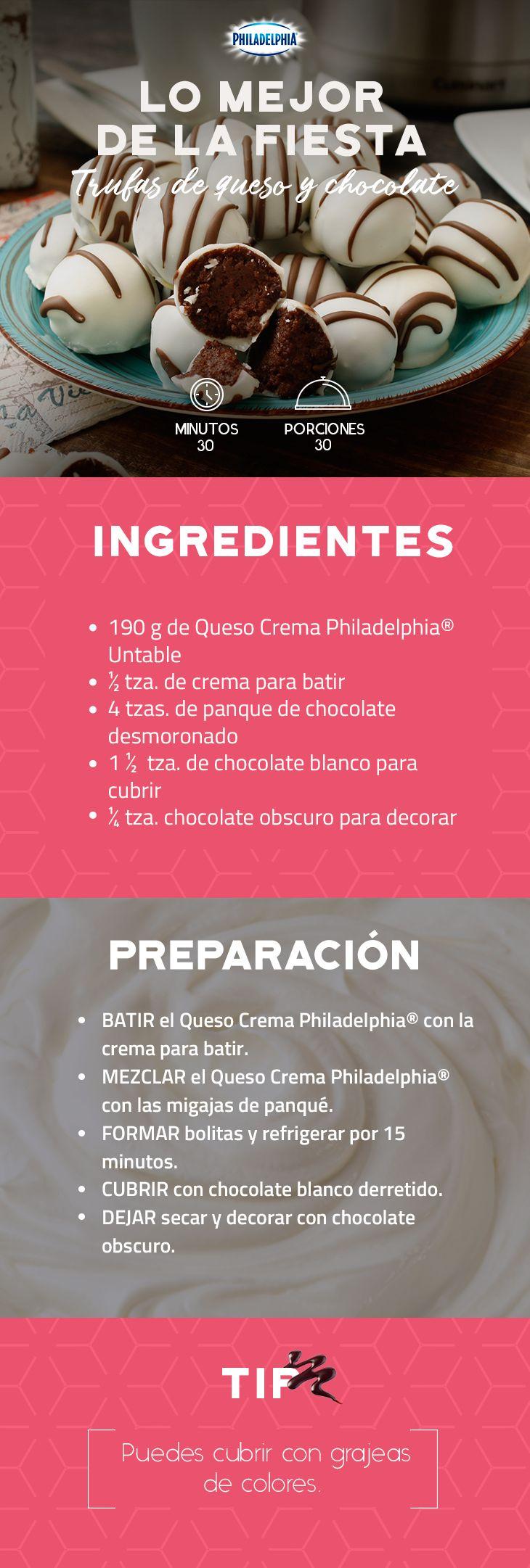 ¿Tienes algún evento próximo? Prepara estos ricos detalles de sabor a tus invitados, les encantarán. #queso #quesocrema #Philadelphia #fiesta #bautizo #babyshower #receta #trufas #postre #dulces