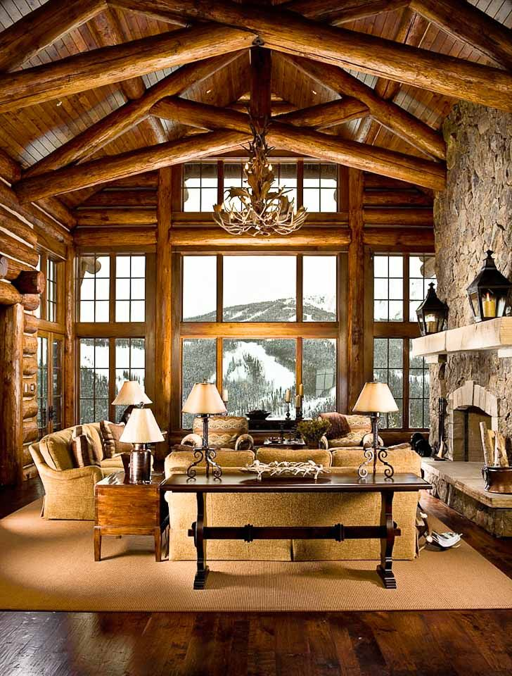454 best images about lodge style great rooms on pinterest for Log cabin living room ideas