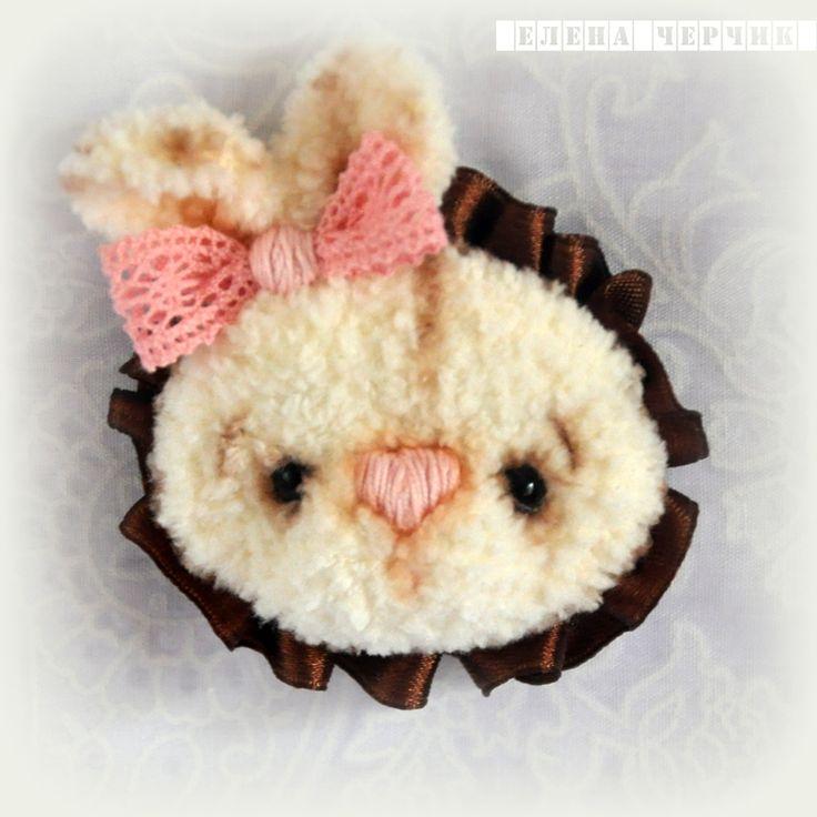 Купить Брошь Зайка - белый, розовый, молочный, шоколадный, шебби шик, брошка зайка, зайчик
