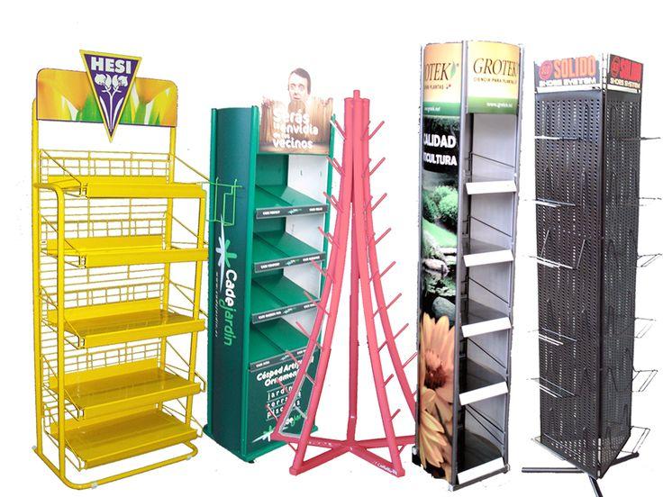 Exhibidores o expositores, son muebles diseñados por los fabricantes de los productos donde incorporan sus propios elementos publicitarios.