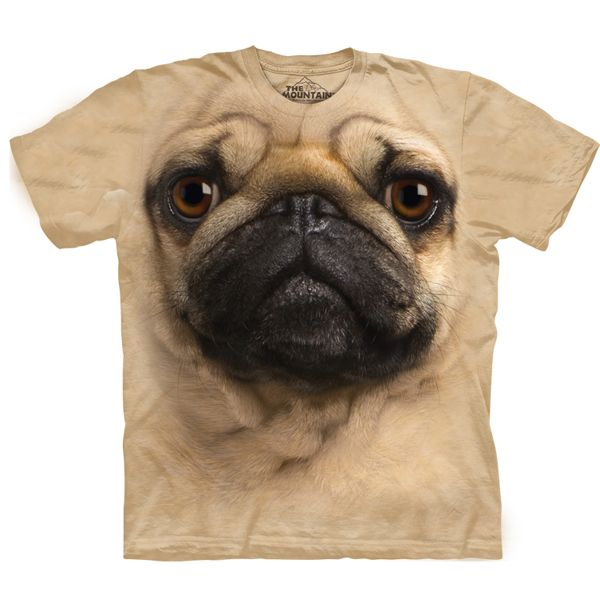 Take the dog you love every where with their face on your Human T-Shirt by The Mountain! - Big Face Animal Tee. - Shirt for adult humans. - Pug on shirt. - Pre-shrunk to fit. - 100% cotton dyed shirt.