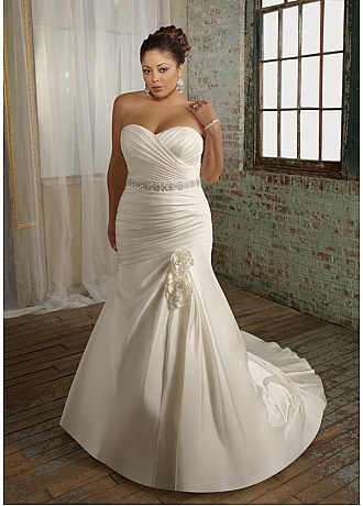 Glamorous Satin Mermaid Sweetheart Neckline Plus Size Wedding Dress With Beads and Handmade Flowers