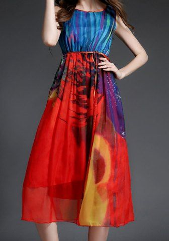 Bohemian Style Round Collar Colorful Sleeveless Dress For Women
