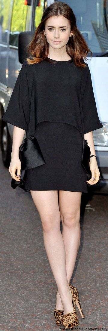 Street Style | Lily Collins in little black dress and leopard pumps #celeb style
