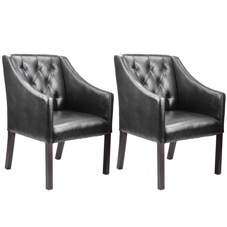 Add a touch of contemporary sophistication to your decor with these inviting accent club chairs from the CorLiving Collection. Easy to wipe clean, this pair of diamond tufted black bonded leather chairs with gently curved arms are durable.