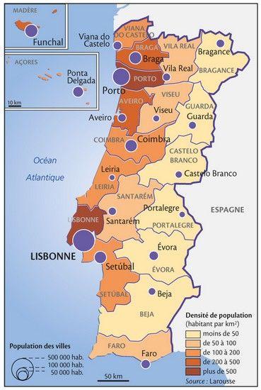 Beja = seul district sur la côte dont la population est de moins de 50 habitants par km2 (intéressant...) La densité de population va augmenter ?