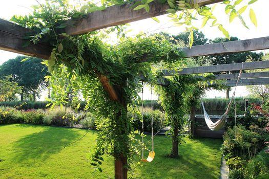 Landelijke tuin met pergola prieel overgroeid met blauwe regen (Wisteria sinensis). Aan de pergola hangt een hangmat en ...