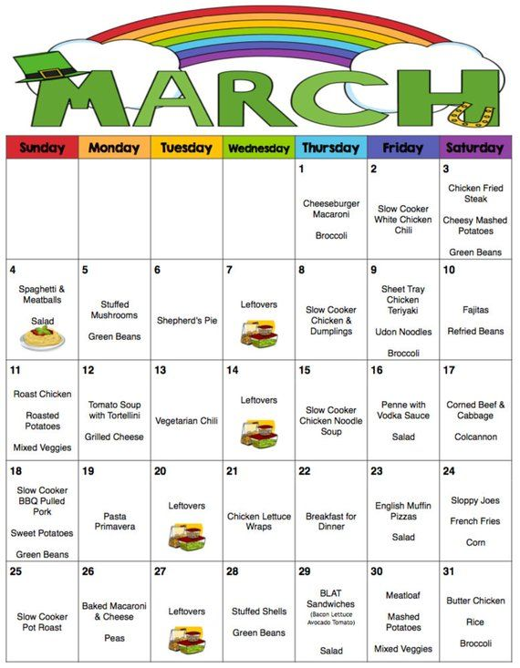 March 2018 Menu - Monthly Meal Planner with Weekly Grocery Lists