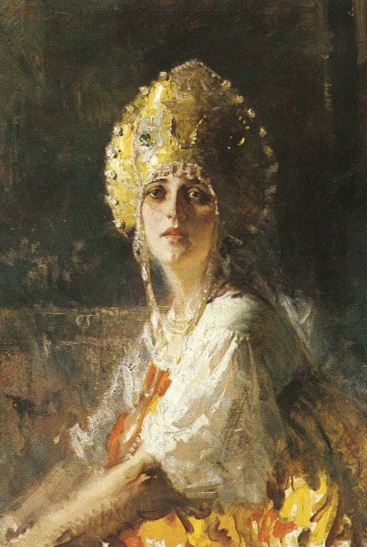 Russian costume in painting. Giuseppe Palanti. Russian Bride. The 20th century, before 1946. #art #painting #Russian #costume