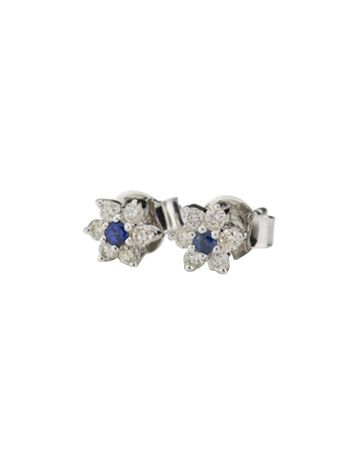 The Baby Anything diamond and sapphire floral cluster earring. Standing for a promise of love from one partner to another, these are the perfect gift!