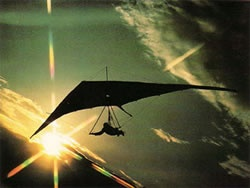 Hang gliding in the sunset, yes.