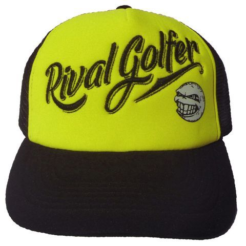 Black mesh, black snapback and black peak; it's the yellow panel that stands out on this cap.With 'Rival Golfer' embroidered and our logo printed, this cap is bound to stand out among the others.Breathable and stylish; perfect for hanging about home or the golf course…The Hallmark Mesh Caps are part of our Streetwear collection but there is no reason you can't wear this one on the golf course too.