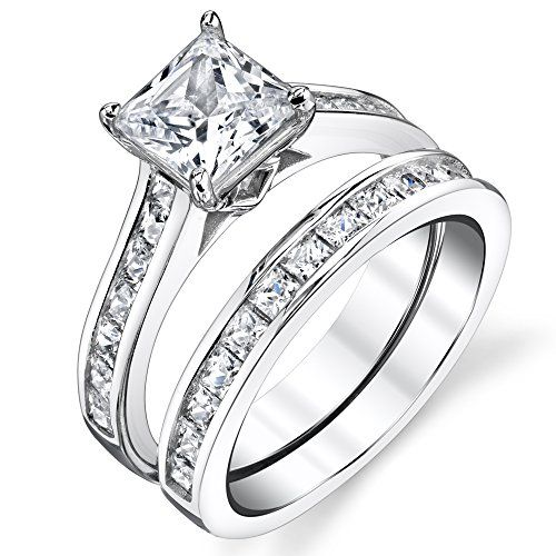 Sterling Silver Princess Cut Bridal Set Engagement Wedding Ring Bands With Cubic Zirconia Size 10