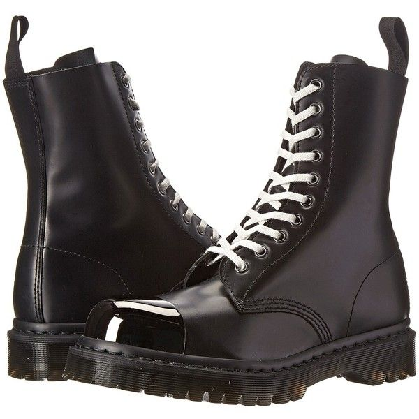 Dr. Martens Grasp External Fashion Steel Toe Cap Boot ($210) ❤ liked on Polyvore featuring shoes, boots, ankle booties, shoes/boots, ankle boots, black polished smooth, black lace up boots, black booties, black leather bootie and leather booties