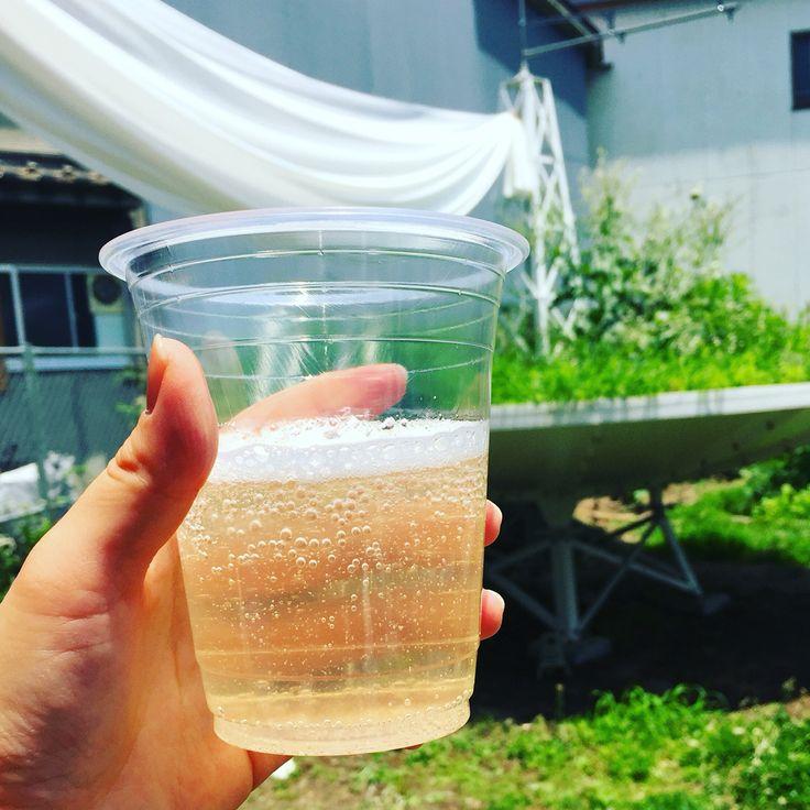のうえんwedding 主役達の家の前にある夏みかんで作ったジュース