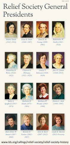 #LDS #ReliefSociety -- The General Relief Society Presidents. To read their individual biographies, go here https://www.lds.org/callings/relief-society/relief-society-history