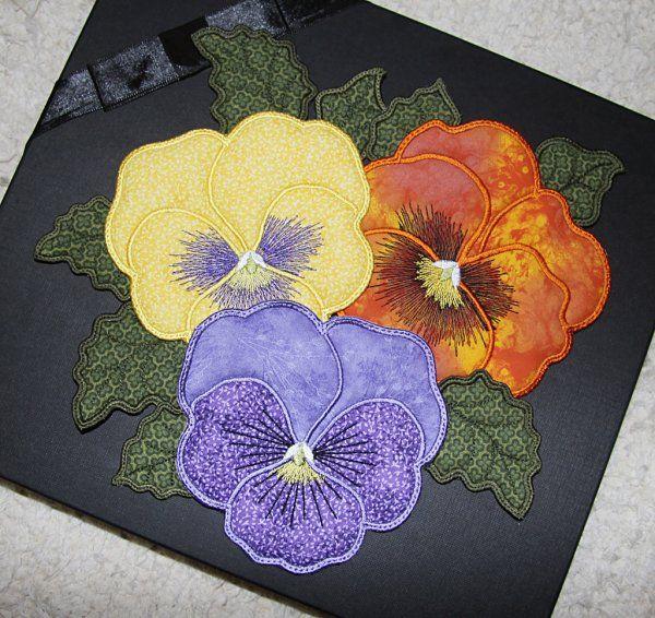 5х7 аппликация анютины глазки кружка ковры - дизайн Эльзас | OregonPatchWorks
