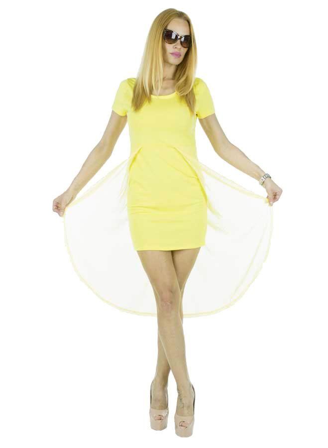 Rochie Dama Bombo  Rochie dama din material lejer. Acest model poate fi purtat cu usurinta la diferite evenimente.  Detaliu - plasa la spate.     Latime: 36cm  Lungime fata: 77cm  Lungime totala: 111cm  Compozitie: 95%Bumbac, 5%Elasten