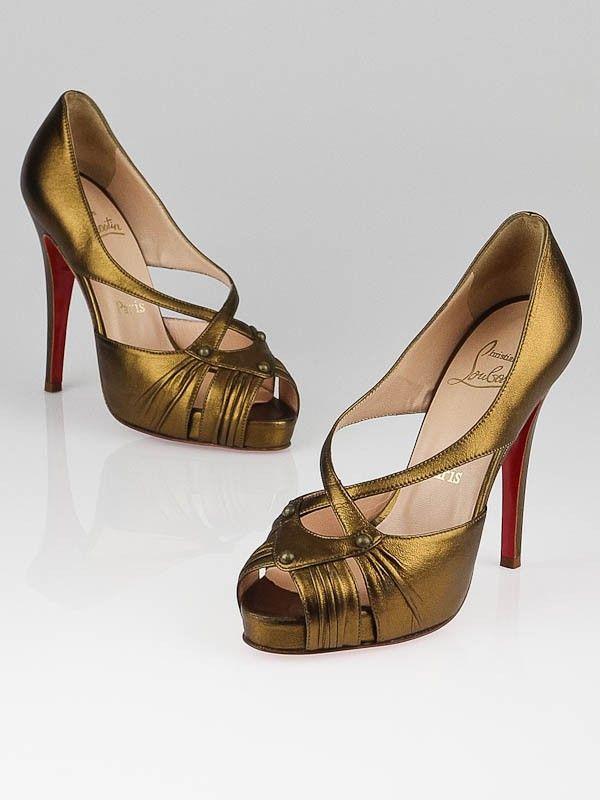Christian Louboutin Bronze Nappa Leather Scissor Girl 120 Peep Toe Pumps Size 6.5/37 - Shoes - CL130521B