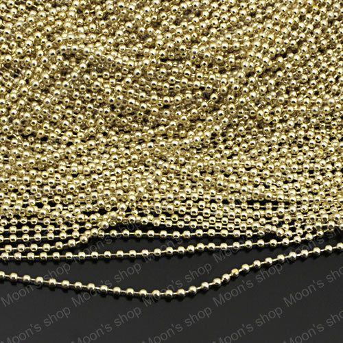 Wholesale Bead diameter 2.4mm Electrophoresis Light Gold color round Iron Ball chains Findings Accessories 5 meter(JM3705) #Affiliate