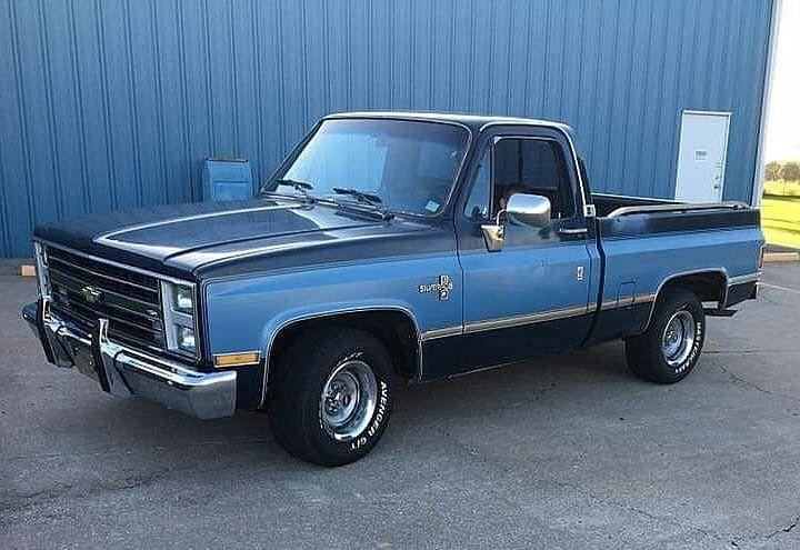 1985 Chevy Silverado C10 Swb 2 Tone Blue Chevy Trucks C10 Chevy Truck Classic Chevy Trucks