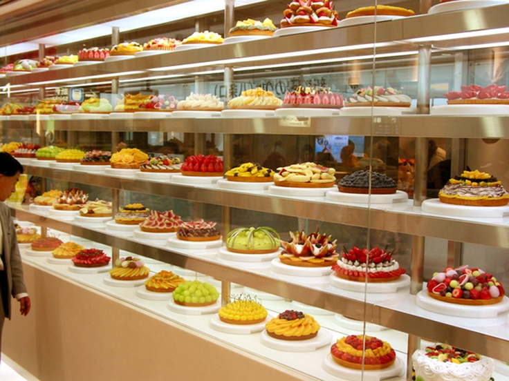 This store is selling 327 different types of cakes, in Tokyo, Japan.