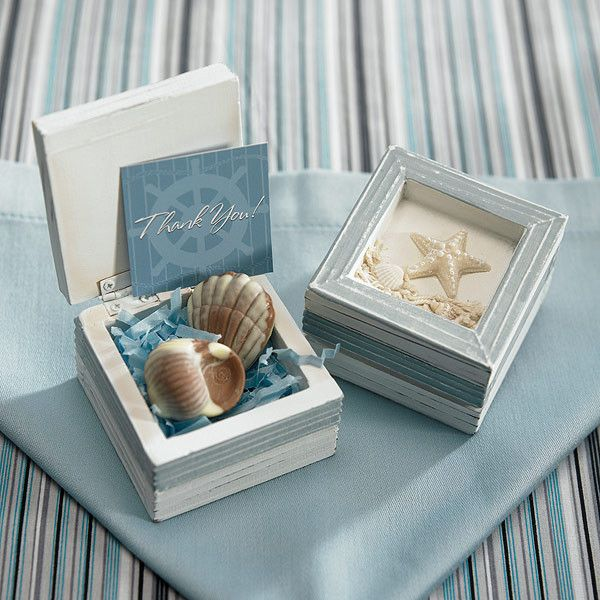 Beach Theme Wooden Trinket Boxes Pack of 12