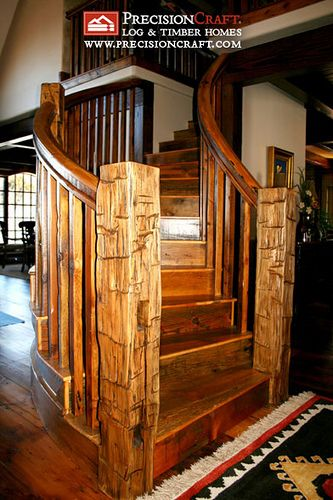 Idaho Timber Frame Home | Custom Designed Staircase by PrecisionCraft Log Homes & Timber Frame, via Flickr