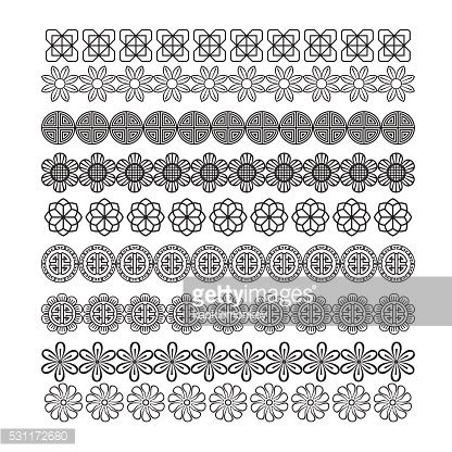 Vector Art : asian frame ornament, pattern brush ,korean, chinese, japanese v