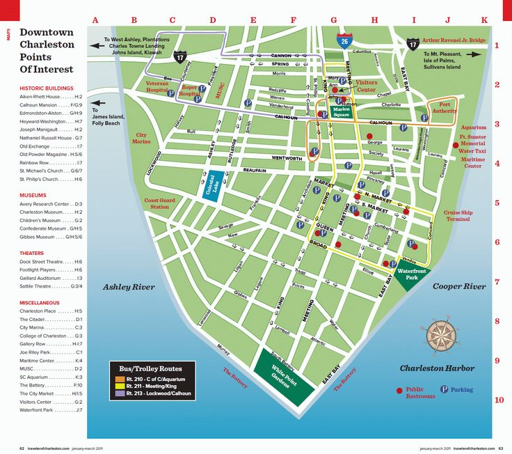 Map of Charleston, buses are free to ride! Park at visitor center garage and take bus around city