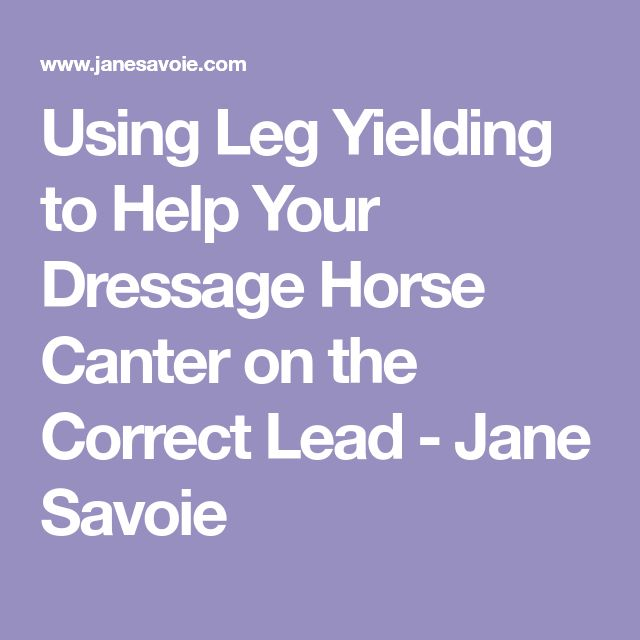 Using Leg Yielding to Help Your Dressage Horse Canter on the Correct Lead - Jane Savoie