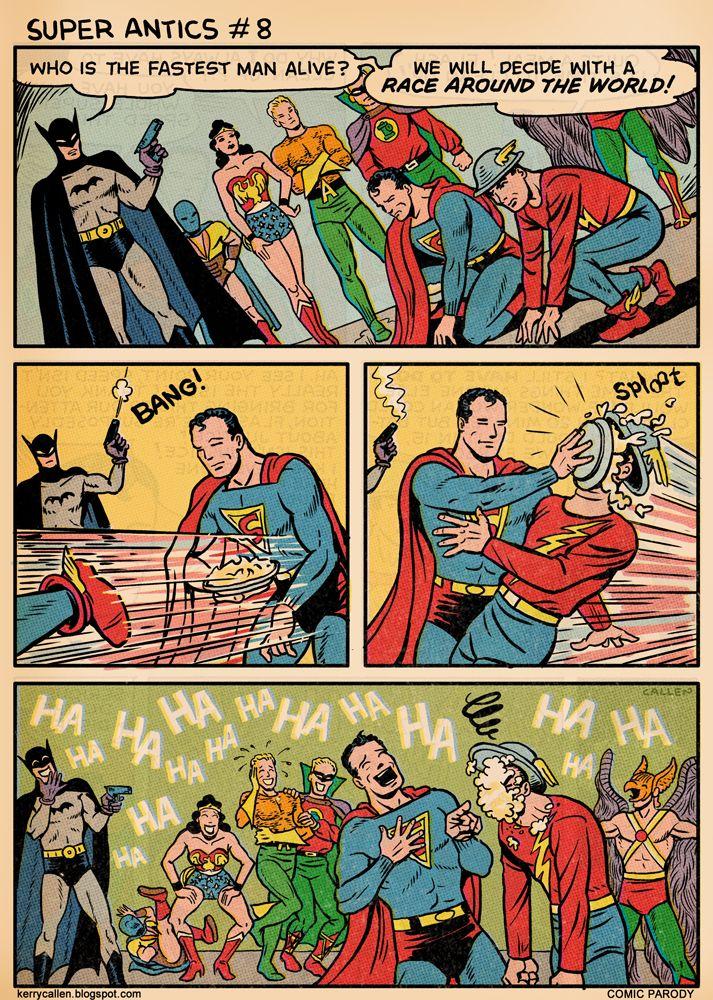 Superman Pranks The Flash In A Race In Funny Comic Strip -3851