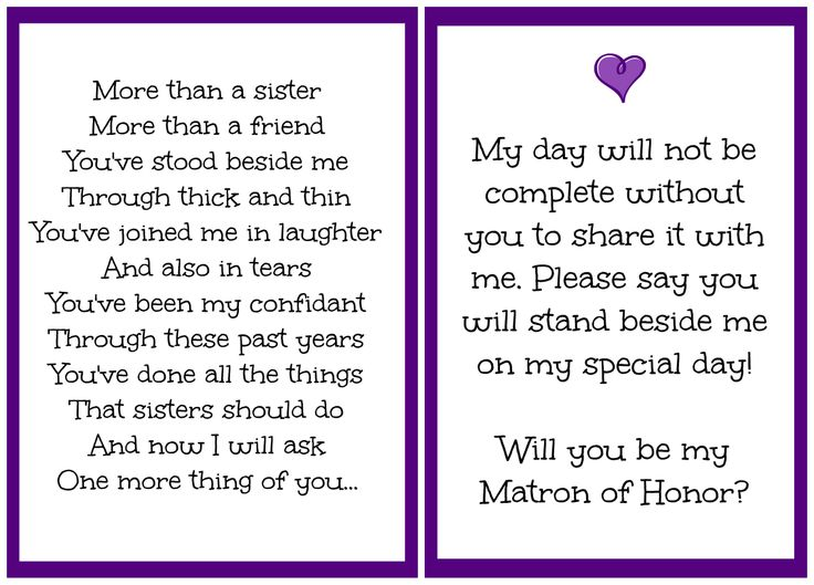 Will You Be My Matron Of Honor I Made This For My Sister