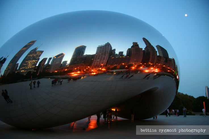 A nightly reflection of Chicago's skyscrapers in the bean - Cloud Gate by Anish Kapoor, Millennium Park, Chicago, Illinois, USA