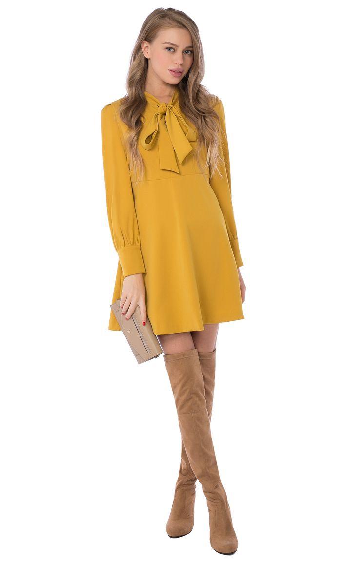 Расклешенное платье-мини с воротником-бантом Sister Jane 2000000174730, купить за 9400 руб в интернет-магазине TopTop.ru
