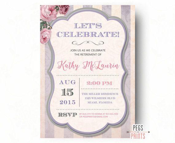 Retirement Party Invitation Shabby Chic - Retirement Party Invites - Farewell Party Invitation - PRINTABLE Farewell Invitation for Women