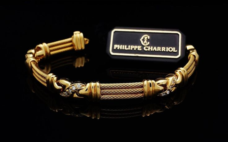 NEW! Retro PHILIPPE CHARRIOL Cable Bracelet w/ Diamonds Solid 18K Yellow Gold