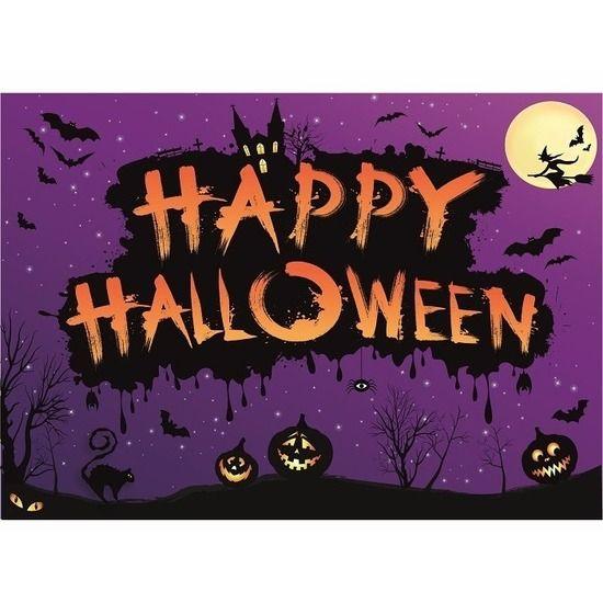 Happy Halloween poster voor op de muur, deur of het raam. Het formaat van deze Happy Halloween poster is A2,(42 x 59 cm) en is liggend/ horizontaal. Materiaal: papier. De poster wordt aangeleverd in een koker.