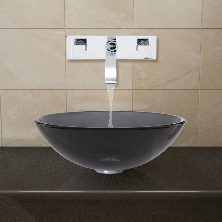 bathroom sink and faucet sets. vigo vgt26 sheer black glass vessel sink and wall mount faucet set bathroom sets