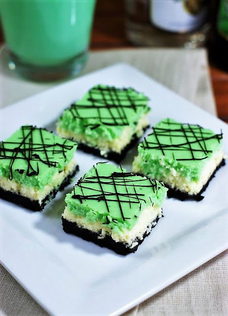 Grasshopper Cheesecake Squares image ~ Enjoy the flavors of the classic Grasshopper cocktail in a beautifully layered cheesecake treat.