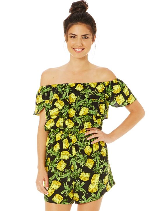 Pineapple Print Frill Playsuit