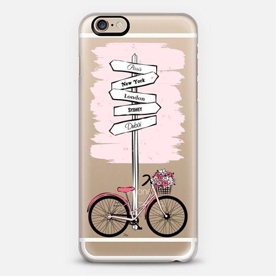 pink travel bike fashion illustration mobile phone cover