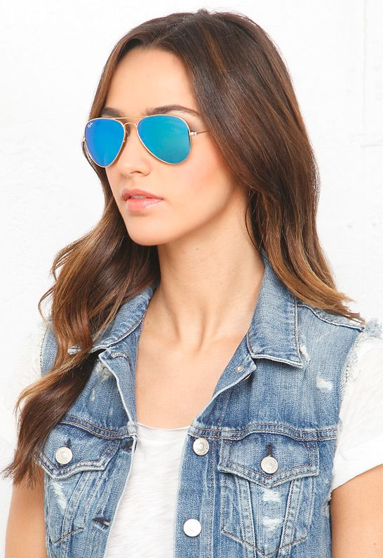1f8204a1d4d2 Ray-Ban Aviator Metal 55 mm Sunglasses in Blue Mirror Gold-112-17  160