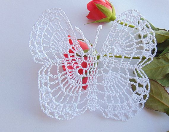 Small  Crochet Butterfly Papillon Spinnaker Doily by MaddaKnits