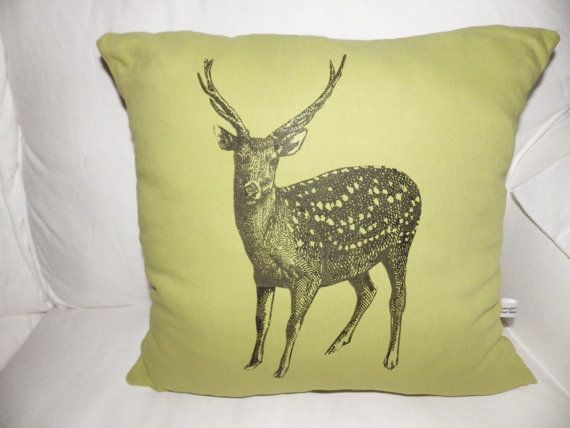 Green  Reindeer Large Christmas Cushion Cover by madeincrawley