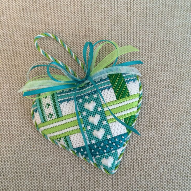 Aqua and green needlepoint woven ribbon heart ~ canvas design by Kate Dickerson, finishing by Diana…