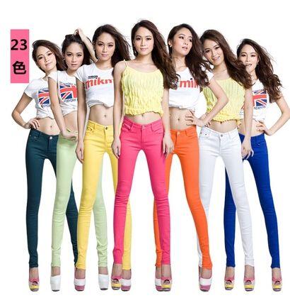 Дешевое 18 цвет 2014 осень большой размер женские джинсы женщин конфеты цвета брюки узкие брюки длинные брюки женские брюки бесплатная доставка, Купить Качество Брюки и капри непосредственно из китайских фирмах-поставщиках:  ДЕТАЛИ ПРОДУКТА