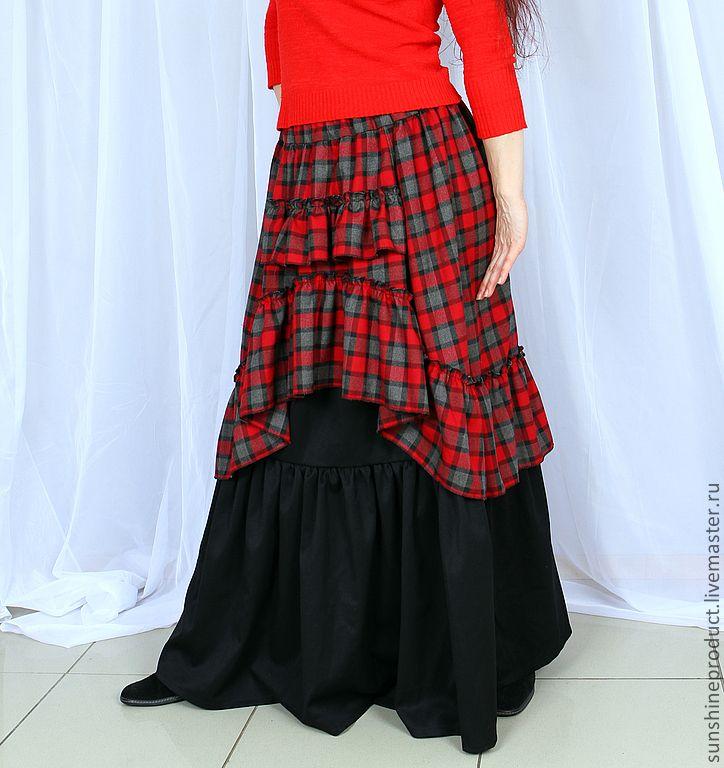 """Купить Юбка """"Богемная Осень Страстная Красная"""" - в клеточку, юбка маски, юбка длинная, бохо"""
