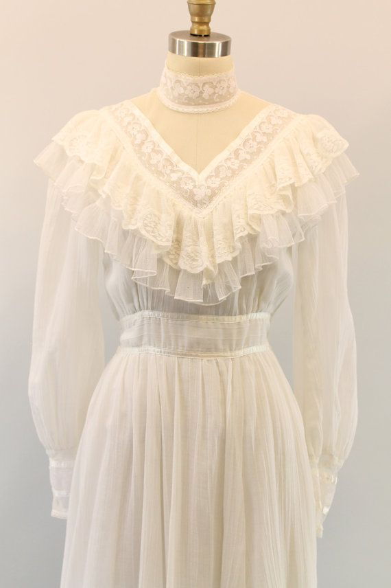 70s Gunne Sax Dress Small / 1970s Ruffle Maxi by CrushVintage