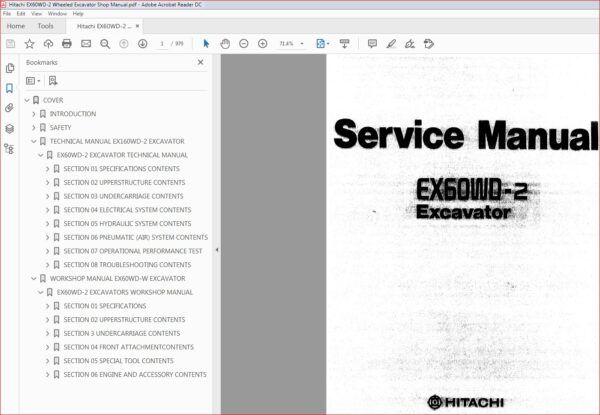 Hitachi Ex60wd 2 Wheeled Excavator Service Repair Workshop Manual In 2020 Excavator Hitachi Manual